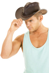 cowboy green tank hold hat side close