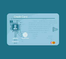 Blue credit card. Banking concept