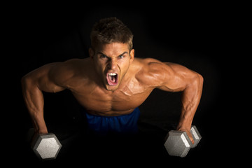 man fitness no shirt on black pushup mean