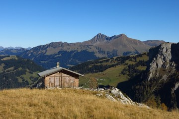 Hut and view of the Lauenenhorn and Gifer