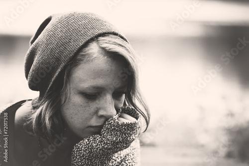 Leinwanddruck Bild Sad depressed girl