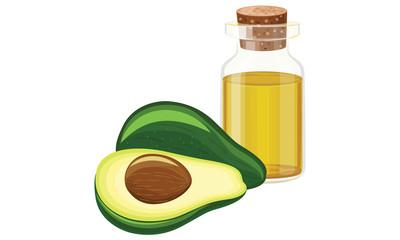 avocado oil, fruit, glass bottle ,vector illustration