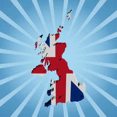 UK map flag on blue sunburst illustration