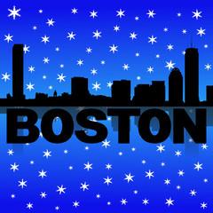 Boston skyline reflected with snow illustration