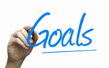 Goals hand writing with a blue mark on a transparent board