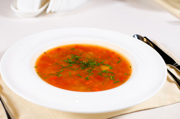Bowl of spicy vegetable minestrone soup