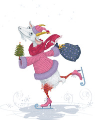 Funny skater goat with christmas tree and bag