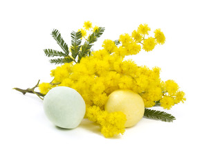 mimosa and Easter marzipan eggs