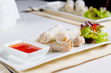 Gourmet Spring Rolls Main Entree with Sauce