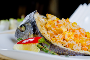 Gourmet stuffed grilled fish