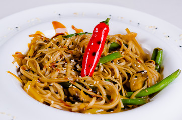 Tasty Noodles with Red Pepper and Beans
