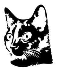 Black cat head silhouette