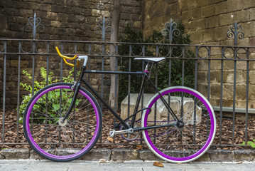 bicycle tied to a fence