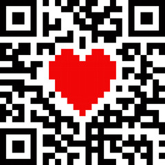 Red heart symbol in abstract QR-code