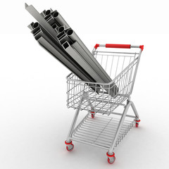 Metal profiles in your shopping cart. Conception of trading