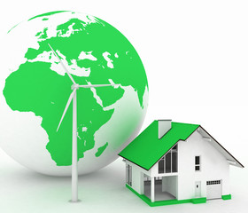 Eco house with wind turbine , environmentally friendly