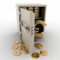 3d illustration of steel safe with euro sign inside