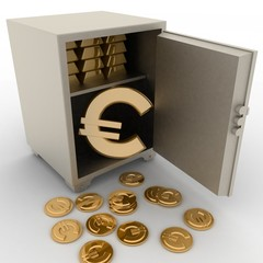 3d illustration of steel safe with euro sign inside