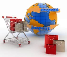 Shopping cart with a globe. Direction concept