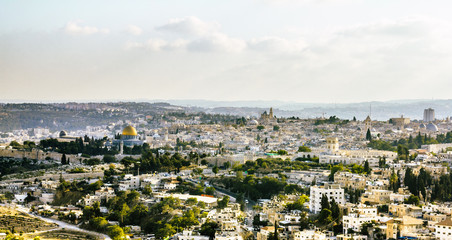 Panorama of the old city from the Mount of olives, Jerusalem Isr