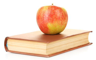 Apple with book isolated on white