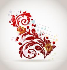 Floral ornamental colorful design elements