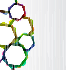 Abstract set colorful hexagons background