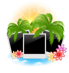 Set photo frame with palms, flowers, seascape background