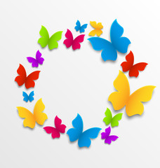 Spring card with colorful butterflies, circle composition