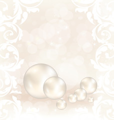 Romantic card with set pearl
