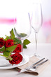canvas print picture - Table setting with red rose on plate