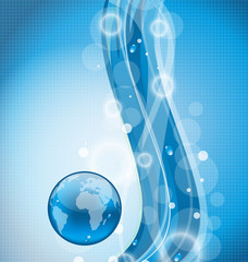 Illustration wavy water background with earth planet