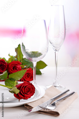 canvas print picture Table setting with red rose on plate
