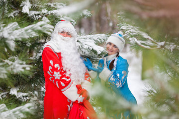 Russian Christmas characters: Father Frost and Snow Maiden