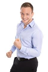 Portrait: Freigestellter lachender junger Geschäftsmann