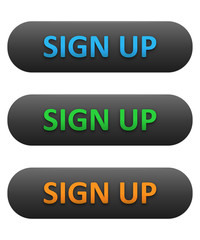 SIGN UP Web Buttons Set (blue orange green subscribe)