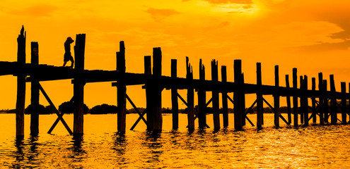 U bein bridge and sunset in Taungthaman lake, Amarapura, Myanmar