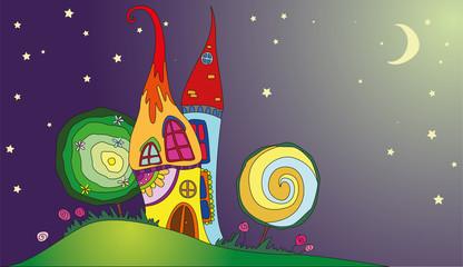 fairy little magic play houses mushrooms under the moon