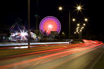 Amusement park at night in Poznan