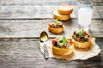 bruschetta with roasted eggplant and tomatoes