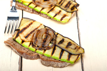 grilled vegetables on bread