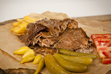 delicious turkish doner kebab grilled meat