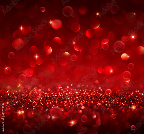 canvas print picture christmas background - shining red glitter
