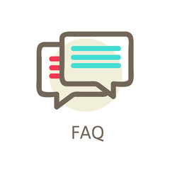 Icons for faq, support, contact.