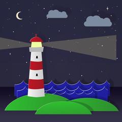 Maritime lighthouse. Night