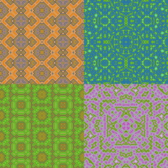 Set of wallpaper cubic floral seamless generated textures