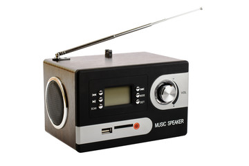 Digital radio with a blank screen and buttons
