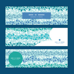 Vector abstract ice chrystals texture horizontal banners set
