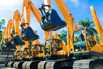 Shovel excavator on Asian  rental company site