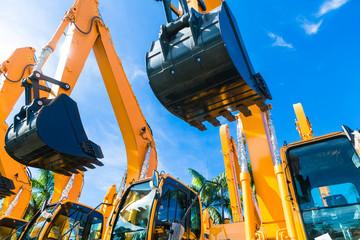 Shovel excavator on Asian  rental company site